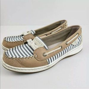 Sperry Top-Sider Tan Blue Canvas Stripe Boat Shoes